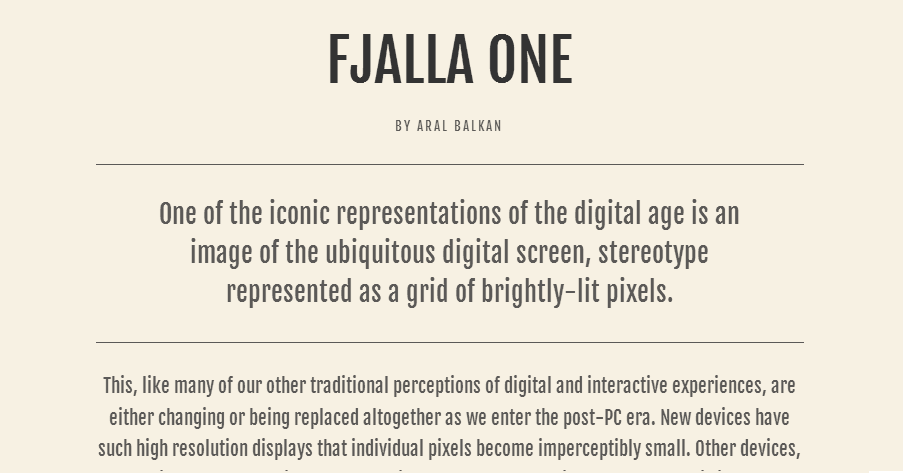 Fjalla One - Google Fonts