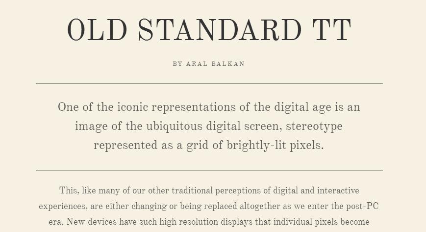 Old Standard TT - Google Fonts
